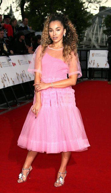 Singer Ella Eyre poses for photographers upon arrival to the British Academy Television Awards at the Royal Festival Hall in London, Sunday, May 14, 2017. (Photo by Joel Ryan/Invision/AP Photo)