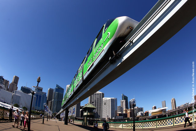 A Sydney Monorail is seen at Darling Harbour