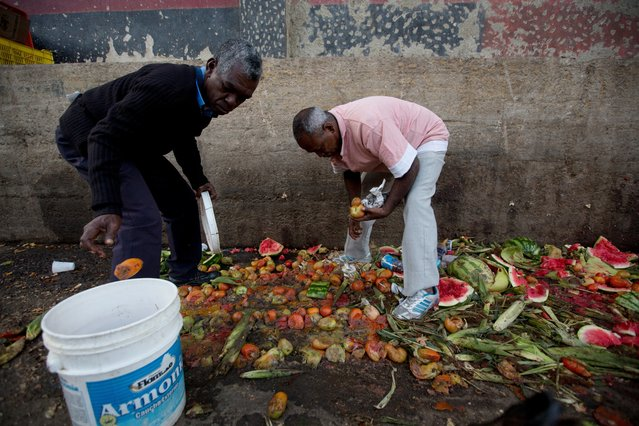 In this May 31, 2016 photo, Pedro Hernandez, left, and his friend Luis Daza, pick up tomatoes from the trash area of the Coche public market in Caracas, Venezuela. At Coche, even once middle class Venezuelans made desperate by the country's economic collapse have taken to sifting through the trash to resell or feed themselves on discarded fruits and vegetables. (Photo by Fernando Llano/AP Photo)