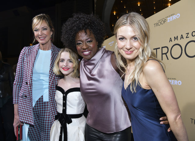 """(L-R) Allison Janney, McKenna Grace, Viola Davis, and Lucy Alibar arrive at the premiere of Amazon Studios' """"Troop Zero"""" at Pacific Theatres at The Grove on January 13, 2020 in Los Angeles, California. (Photo by Rodin Eckenroth/Getty Images)"""