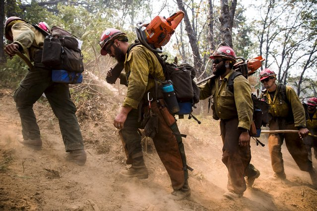 "The Stanislaus Hotshots hike in on a fire line on the so-called ""Rough Fire"" in the Sequoia National Forest, California, August 21, 2015. (Photo by Max Whittaker/Reuters)"