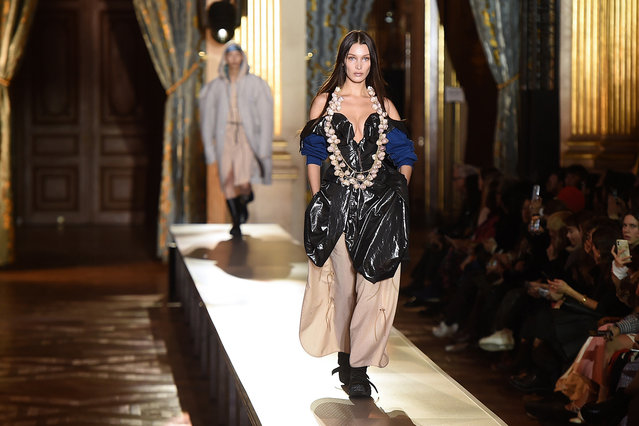 US model Bella Hadid presents a creation by Vivienne Westwood during the Women's Fall-Winter 2020-2021 Ready-to-Wear collection fashion show in Paris, on February 29, 2020. (Photo by Lucas Barioulet/AFP Photo)