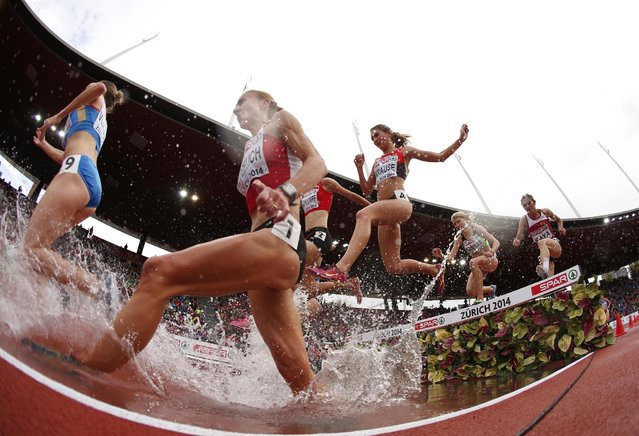 Sviatlana Kudzelich of Belarus (2nd L) Natalya Vlasova of Russia (L) and Gesa-Felicitas Krause of Germany (4th L) clear a water obstacle in a women's 3000 metres steeplechase heat during the European Athletics Championships at the Letzigrund Stadium in Zurich August 15, 2014. (Photo by Phil Noble/Reuters)