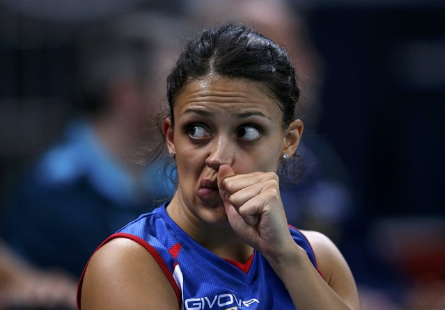 Serbia's Stefana Veljkovic reacts after losing their women's Group B volleyball match against Brazil at Earls Court during the London 2012 Olympic Games August 5, 2012. (Photo by Ivan Alvarado/Reuters)