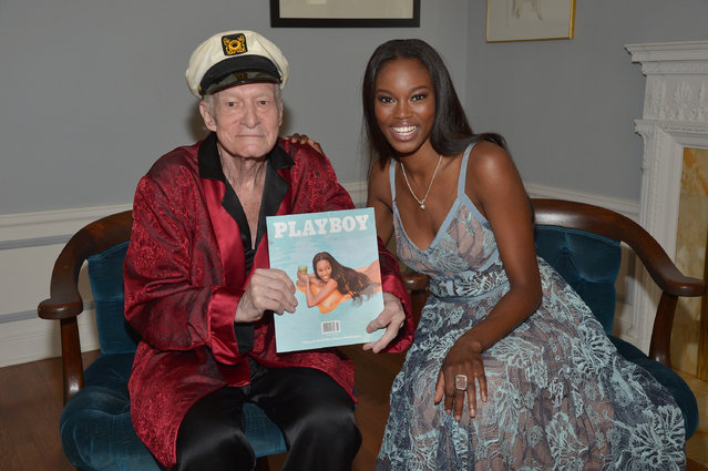 Playboy Founder and Editor-In-Chief Hugh M. Hefner poses with 2016 Playmate of the Year Eugena Washington at Playboy's 2016 Playmate of the Year Announcement at the Playboy Mansion on May 11, 2016 in Los Angeles, California. (Photo by Charley Gallay/Getty Images  for Playboy)