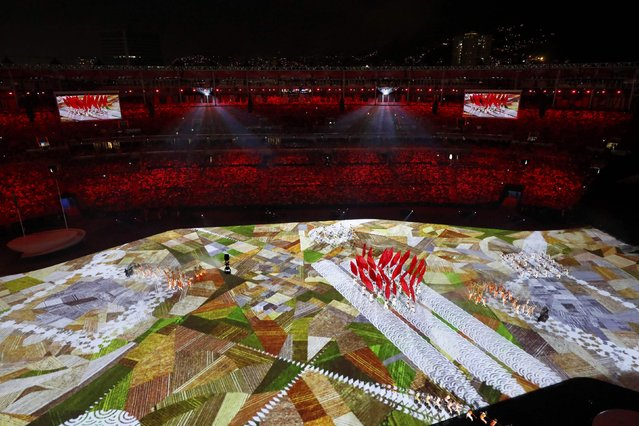 2016 Rio Olympics, Opening ceremony, Maracana, Rio de Janeiro, Brazil on August 5, 2016. Performers take part in the opening ceremony. (Photo by Fabrizio Bensch/Reuters)