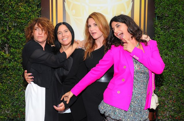 Jill Soloway, from left, Andrea Sperling, Rebecca Odes and Jessie Kahnweiler arrive at the Television Academy's Creative Arts Emmy Awards at Microsoft Theater on Saturday, September 12, 2015, in Los Angeles. (Photo by Vince Bucci/Invision for the Television Academy/AP Images)
