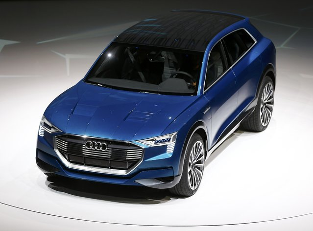 The new Audi e-tron Quattro has its world premiere during the Volkswagen group night ahead of the Frankfurt Motor Show (IAA) in Frankfurt, Germany, September 14, 2015. (Photo by Kai Pfaffenbach/Reuters)