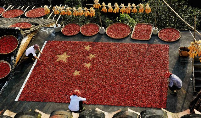 Farmers form a Chinese national flag with red peppers, unhusked rice and kidney beans to celebrate the upcoming 65th anniversary of the founding of the People's Republic of China, in Wuyuan county, Jiangxi province September 27, 2014. (Photo by Reuters/Stringer)