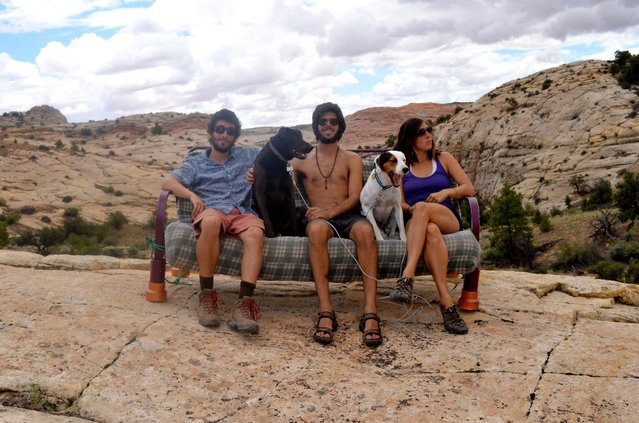 After buying a cheap Dodge Ram van off the Internet, the group spent four months traveling around North America on a quest to see the true beauty of their homeland. Here they are seen at the Grand Staircase-Escalante National Monument in Utah. (Photo by Caters News)