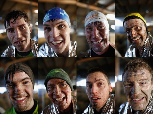 In this photo montage, competitors pose for a portrait after completing the Tough Guy Challenge on January 27, 2013 in Telford, England.  (Photo by Harry Engels)