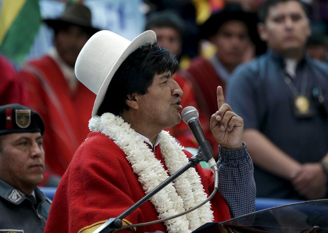 """Bolivia's President Evo Morales speaks during the inauguration of the sports arena called """"Coliseo Ban Ki-Moon"""" in Vila Vila, south of Cochabamba, October 11, 2015. (Photo by David Mercado/Reuters)"""