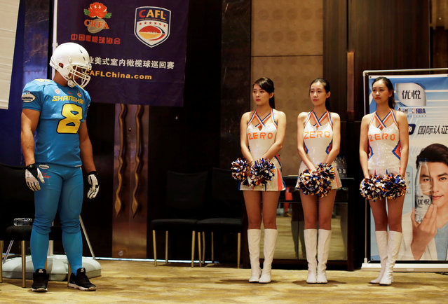 A news conference is held to launch the China Arena Football League (CAFL) in Beijing, China, September 29, 2016. (Photo by Jason Lee/Reuters)