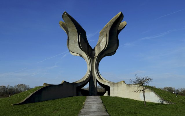General view of a monument to affected detainees of Jasenovac camp in Jasenovac, Croatia November 5, 2014. Across the former Yugoslavia stand giant monuments to a state that no longer exists, once visited and celebrated during public holidays such as Republic Day on November 29, marking the creation of socialist Yugoslavia. (Photo by Antonio Bronic/Reuters)