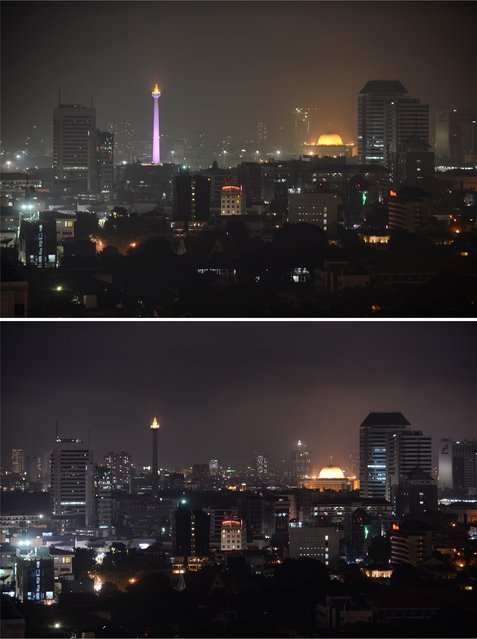 """This combo  shows the lighted National Monument at left and the dome of Istiqlal mosque at right in the Indonesia's capital city of Jakarta with lights in the top photograph taken on March 22, 2013 and the bottom photograph taken during """"Earth Hour"""" event on March 23, 2013 with the National Monument lights switched off. Iconic landmarks and skylines were plunged into darkness on Saturday as the """"Earth Hour"""" switch-off of lights around the world got under way to raise awareness of climate change. While more than 150 countries took part in last year's event, the movement has spread even further afield this year, with Palestine, Tunisia, Suriname and Rwanda among a host of newcomers pledging to take part. (Photo by Romeo Gacad/AFP Photo)"""