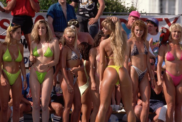Competitors bear more than their bikinis during a spring break bikini contest at Summers' in Fort Lauderdale, Florida, circa 1985. (Photo by Nik Wheeler/Corbis via Getty Images)