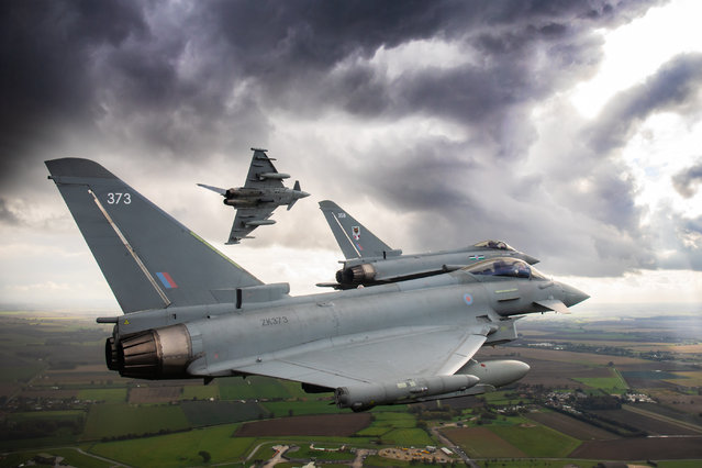 Operations & Exercises, 2nd place. A 12 Squadron Eurofighter Typhoon banks as the 3 ship formation flies over RAF Coningsby. (Photo by SAC Hazel Reader/2020 RAF Photo Competition)