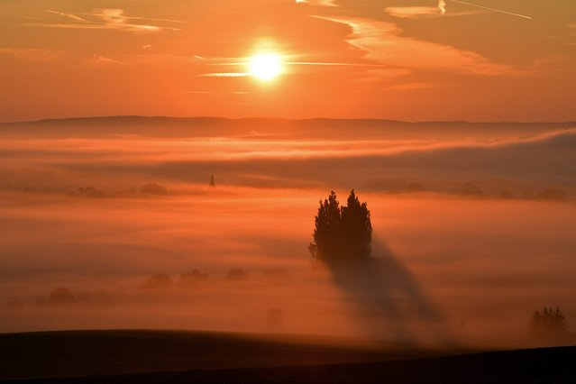 A layer of morning mist still covers the fields as the sun rises into the morning sky over Hohenfelden, Thuringia state, Germany, early 07 September 2016. Meteorologists predict the weather to become warm and sunny in the region with temperatures reaching around 256 degrees Celsius. (Photo by Martin Schutt/EPA)