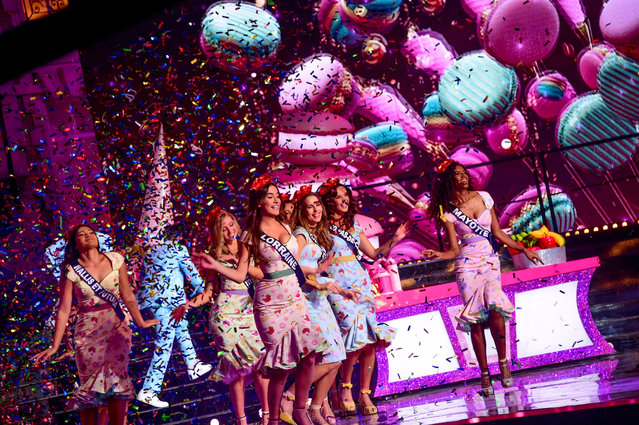 Normandie Amandine Petit (3rd R) celebrates after being elected Miss France 2021 in Puy du Fou, France on December 19, 2020. (Photo by Anthony Ghnassia/SIPA Press/Rex Features/Shutterstock)