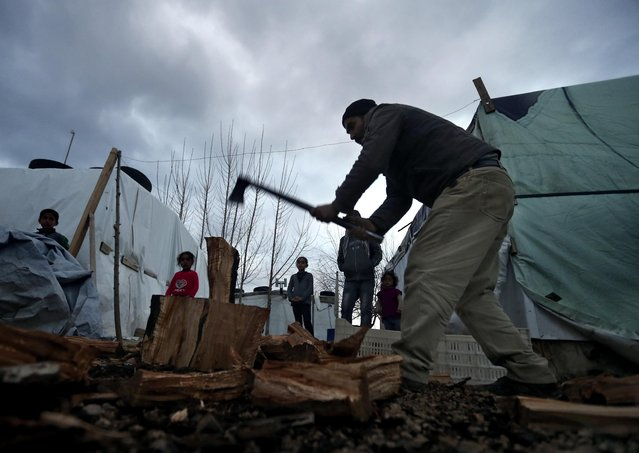 A Syrian refugee splits wood as he prepares for the possibility of a snow storm at a Syrian refugee camp, in Deir Zannoun village, Bekaa valley, Lebanon, on Monday, January 5, 2015. (Photo by Hussein Malla/AP Photo)