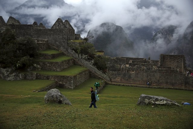 Daniel Filip, Tech Lead Manager for Google Maps, walks carrying the Trekker, a 15-camera device, while mapping the Inca citadel of Machu Picchu for Google Street View in Cuzco, Peru, August 11, 2015. (Photo by Pilar Olivares/Reuters)