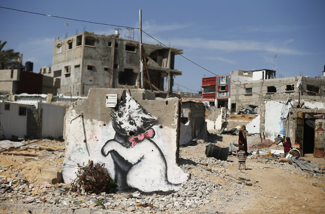 A mural of a playful-looking kitten, presumably painted by British street artist Banksy, is seen on the remains of a house that witnesses said was destroyed by Israeli shelling during a 50-day war last summer, in Biet Hanoun town in the northern Gaza Strip, February 26, 2015. (Photo by Suhaib Salem/Reuters)