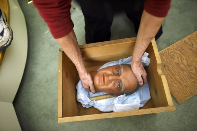 A wax figure head of President William Harding is packed in a box at the Hall of Presidents Museum, which closed in November, during an auction today in Gettysburg, Pennsylvania, U.S. January 14, 2017. (Photo by Mark Makela/Reuters)