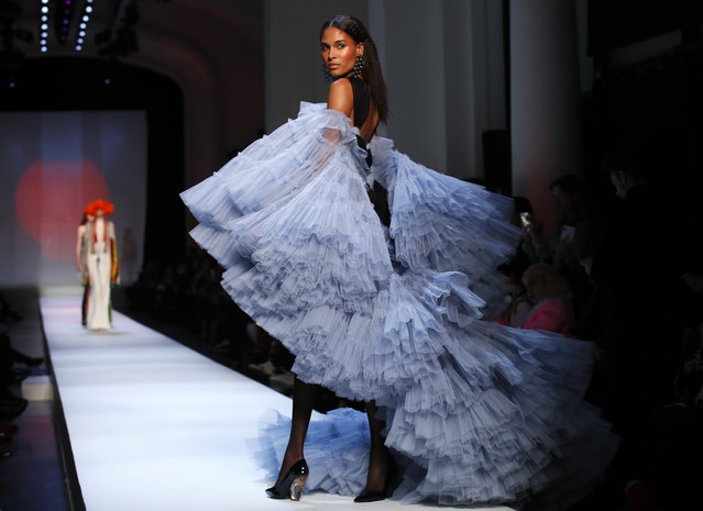 A model wears a creation for Jean-Paul Gaultier's Spring/Summer 2019 Haute Couture fashion collection presented in Paris, Wednesday January 23, 2019. (Photo by Francois Mori/AP Photo)