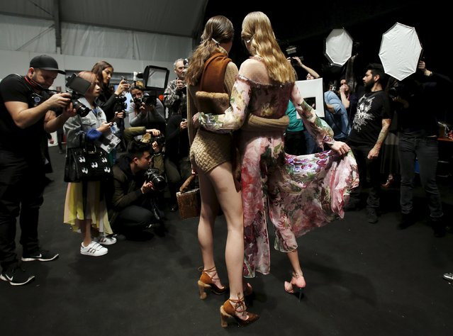 Models pose backstage at the Blumarine Autumn/Winter 2016 women's collection during Milan Fashion Week, Italy, February 27, 2016. (Photo by Alessandro Garofalo/Reuters)