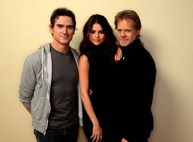 (L-R) Actors Billy Crudup, Selena Gomez, and William H. Macy pose for a portrait during the 2014 Sundance Film Festival at the WireImage Portrait Studio at the Village At The Lift on January 20, 2014 in Park City, Utah. (Photo by Larry Busacca/AFP Photo)