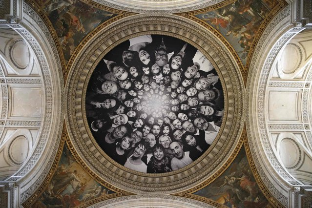 Portraits by contemporary artist JR, collected during the month of March 2014, are displayed under the dome of the Pantheon in Paris May 7, 2015. (Photo by Benoit Tessier/Reuters)