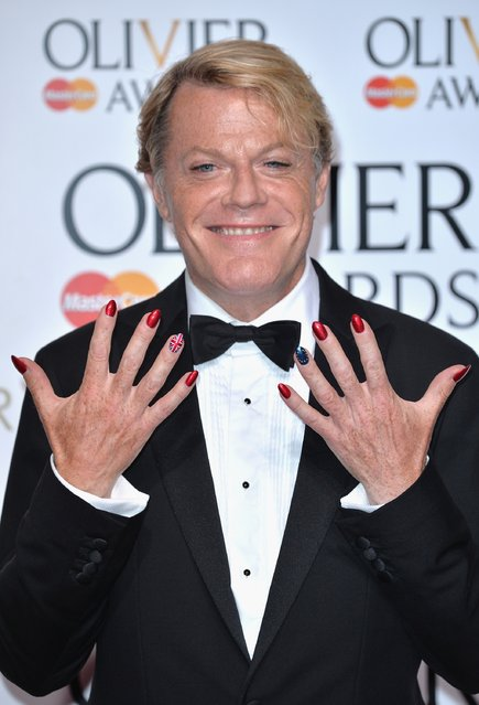 Presenter Eddie Izzard poses in the winners room at The Olivier Awards at The Royal Opera House on April 3, 2016 in London, England. (Photo by Anthony Harvey/Getty Images)