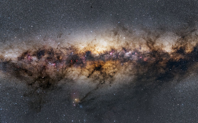 Milky Way Centre. Péter Feltóti (Hungary). The Milky Way, here shot from Namibia, is a barred spiral galaxy and at the center there is the galactic bulge, the heart of the galaxy, full of gas, dust, and stars. (Photo by Péter Feltóti/National Maritime Museum)