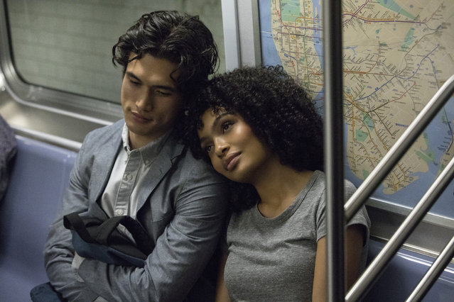 "In this image released by Warner Bros. Pictures, Charles Melton, left, and Yara Shahidi appear in a scene from the film ""The Sun Is Also a Star"". (Photo by Atsushi Nishijima/Warner Bros. Pictures via AP Photo)"