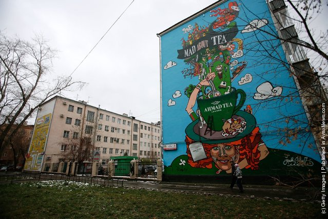 A general view of an advertisement for Ahmad Tea painted on the side of an apartment block in Yekaterinburg, Russia