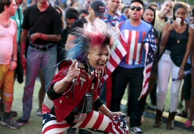 Faroh dances during an Independence Day celebration at Grand Park in Los Angeles, California July 4, 2015. (Photo by Jonathan Alcorn/Reuters)