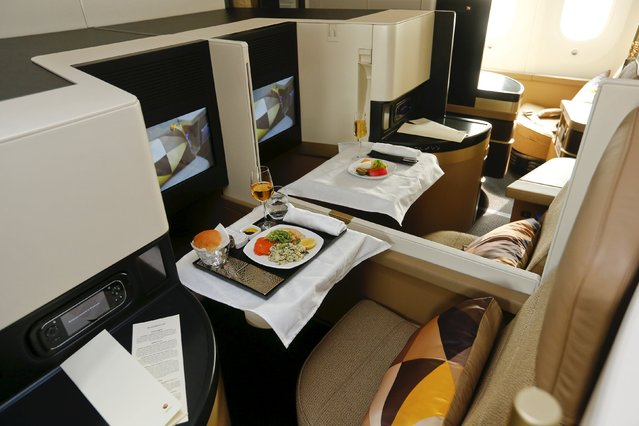The new first class seats aboard an Etihad Airways Boeing 787 Dreamliner passenger jet are pictured during a media presentation at Zurich airport near the town of Kloten July 6, 2015. (Photo by Arnd Wiegmann/Reuters)