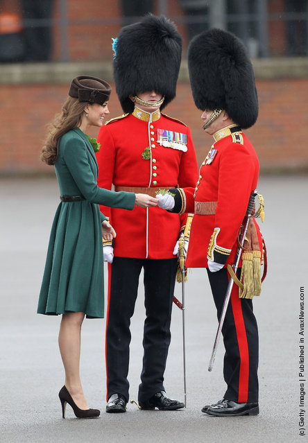 Catherine, Duchess of Cambridge takes part in a St Patrick's Day parade as she visits Aldershot Barracks on St Patrick's Day on March 17, 2012 in Aldershot, England