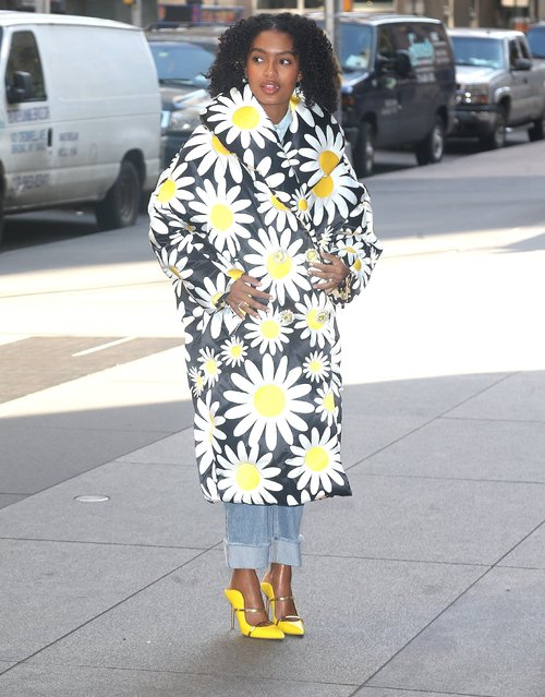 Yara Shahidi in a flowered outfit in New York City on January 15, 2020. (Photo by Backgrid USA)