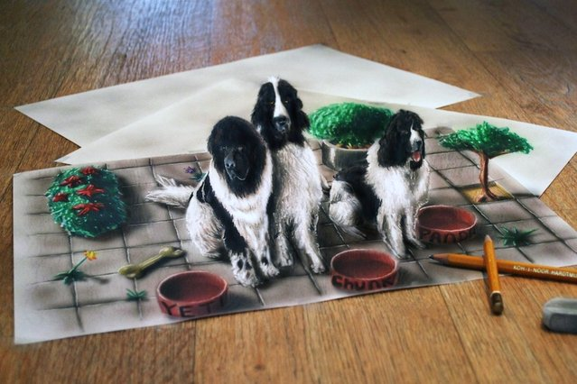 Ramon Bruin's 3D illustration of three dogs in colour with pencils and a rubber to increase the 3D effect. (Photo by Ramon Bruin/Medavia)