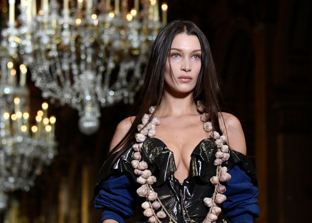 Model Bella Hadid presents a creation by designers Vivienne Westwood and Andreas Kronthaler as part of their Fall/Winter 2020/21 women's ready-to-wear collection show during Paris Fashion Week in Paris, France February 29, 2020. (Photo by Piroschka van de Wouw/Reuters)