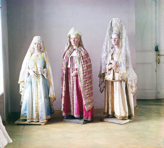Photos by Sergey Prokudin-Gorsky. Mannequins of women in local folk costumes of Tver Province. Tver museum, 1910