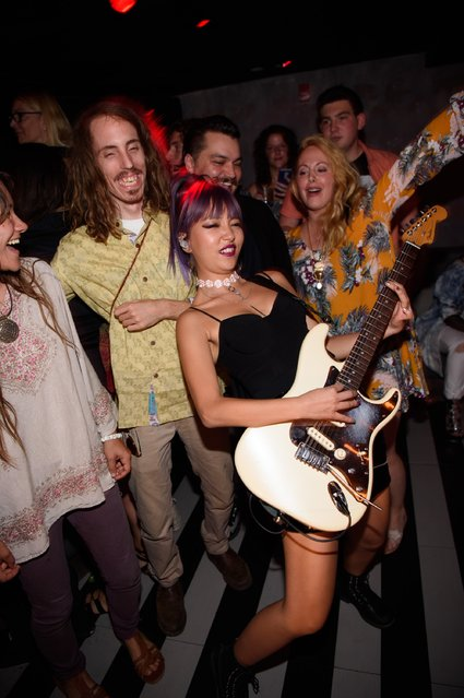 JinJoo Lee of DNCE performs at the One Year Anniversary celebration of of the band DNCE at Up & Down on August 27, 2016 in New York City. (Photo by Dave Kotinsky/Getty Images for DNCE)