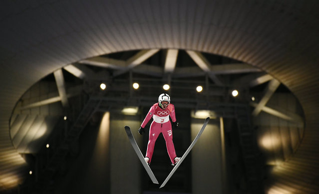 Federico Cecon of Italy in action during the trial jump before the Men's Normal Hill Individual Ski Jumping competition at the Alpensia Ski Jumping Centre during the PyeongChang 2018 Olympic Games, South Korea, 10 February 2018. (Photo by Christian Bruna/EPA/EFE)