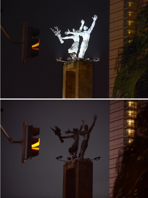 """This two combo photograph shows the lighted Welcome Monument located in central Indonesia's capital city of Jakarta with lights on in the top photograph and bottom photograph taken during """"Earth Hour"""" event on March 23, 2013 with the monument's lights switched off. Iconic landmarks and skylines were plunged into darkness on Saturday as the """"Earth Hour"""" switch-off of lights around the world got under way to raise awareness of climate change. While more than 150 countries took part in last year's event, the movement has spread even further afield this year, with Palestine, Tunisia, Suriname and Rwanda among a host of newcomers pledging to take part. (Photo by Romeo Gacad/AFP Photo)"""