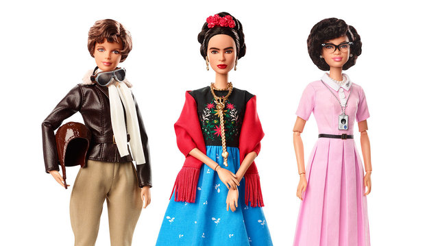 This product image released by Barbie shows dolls in the image of pilot Amelia Earhart, left, Mexican artist Frida Kahlo and mathematician Katherine Johnson, part of the Inspiring Women doll line series being launched ahead of International Women's Day. (Photo by Barbie via AP Photo)