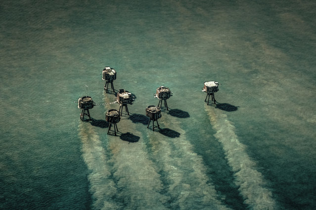 Shortlisted: The Maunsell Forts, Thames Estuary, Kent. Shot taken from a helicopter of Red Sands Maunsell forts. The Maunsell naval forts were built in the Thames estuary and operated by the Royal Navy to deter and report German air raids during the second world war. (Photo by Michael Marsh/Historic Photographer of the Year 2020)