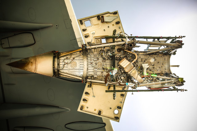 """Where to start"". Technical and engineering, first prize: The empty engine bay of a Royal Air Force A400M Atlas aircraft. The Atlas underwent an engine change at RAF Akrotiri in Cyprus while hopping between the UK and the Middle East. (Photo bu SAC Phil Dye/RAF)"