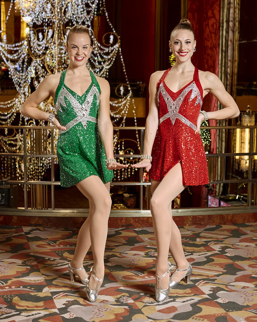 In this November 22, 2016 photo released by Madison Square Garden, Radio City Rockettes Katelyn Gaffney, of Clark, N.J., left, and Megan Levinson, of North Caldwell, N.C., pose on the mezzanine level at Radio City Music Hall in New York. Gaffney and Levinson have become best friends in the Radio City cast. For the past seven seasons, they've been tasked with as many as five, 90-minute shows a day. Both also have appeared in the Rockettes' summer show. (Photo by Carl Scheffel/MSG Photo Services via AP Photo)