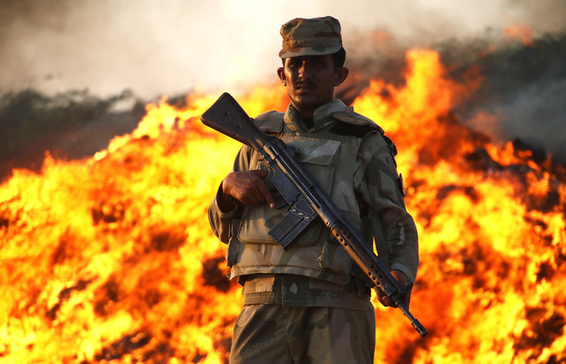 A member of the Pakistani security forces stands guard during the incineration of seized illegal drugs, in Karachi, Pakistan, October 15, 2015. (Photo by Shahzaib Akber/EPA)